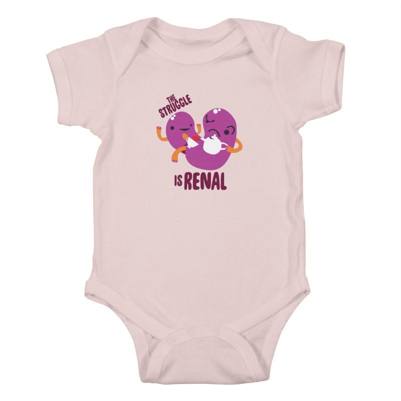 Kidney - The Struggle is Renal Kids Baby Bodysuit by I Heart Guts