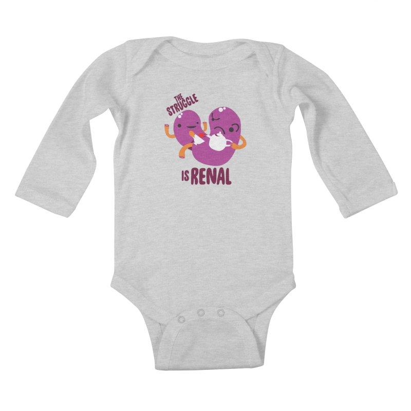 Kidney - The Struggle is Renal Kids Baby Longsleeve Bodysuit by I Heart Guts