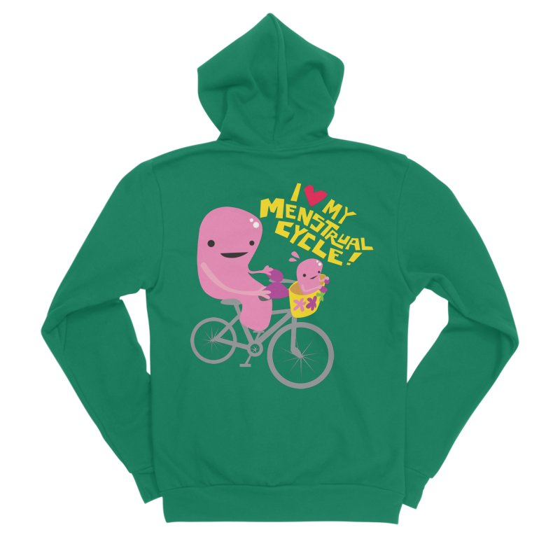 Love My Menstrual Cycle - Uterus on a Bicycle Women's Zip-Up Hoody by I Heart Guts