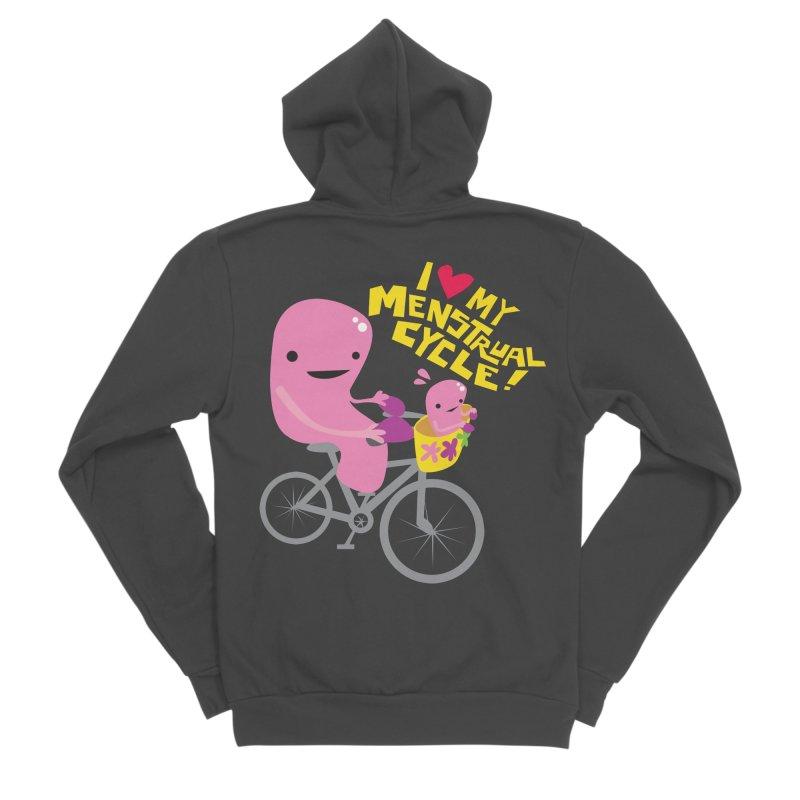 Love My Menstrual Cycle - Uterus on a Bicycle Women's Sponge Fleece Zip-Up Hoody by I Heart Guts