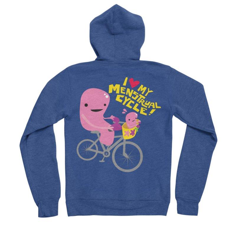 Love My Menstrual Cycle - Uterus on a Bicycle Men's Sponge Fleece Zip-Up Hoody by I Heart Guts