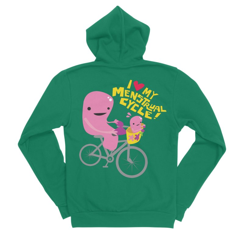Love My Menstrual Cycle - Uterus on a Bicycle Men's Sponge Fleece Zip-Up Hoody by I Heart Guts