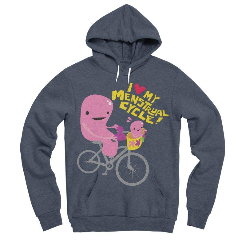 Love My Menstrual Cycle - Uterus on a Bicycle Men's Sponge Fleece Pullover Hoody by I Heart Guts