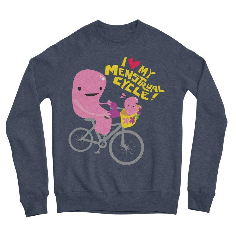 Love My Menstrual Cycle - Uterus on a Bicycle Men's Sponge Fleece Sweatshirt by I Heart Guts