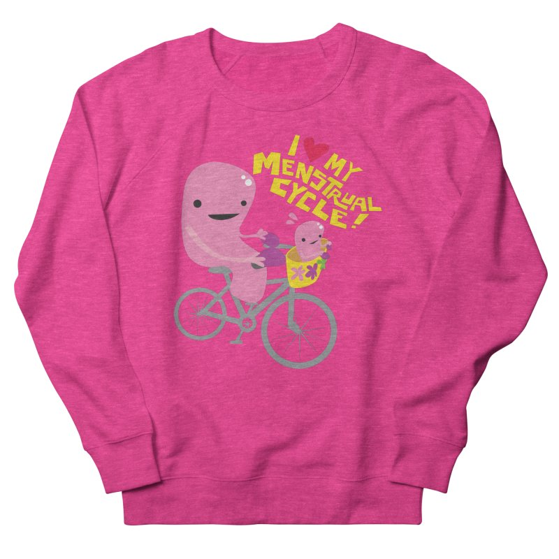 Love My Menstrual Cycle - Uterus on a Bicycle in Women's French Terry Sweatshirt Heather Heliconia by I Heart Guts