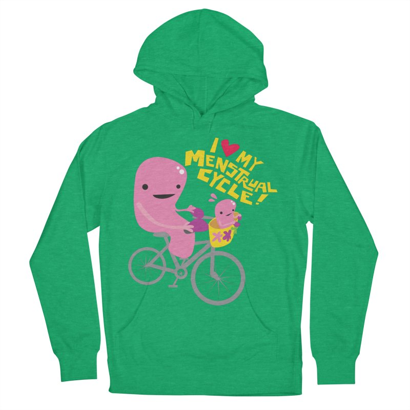 Love My Menstrual Cycle - Uterus on a Bicycle Women's French Terry Pullover Hoody by I Heart Guts