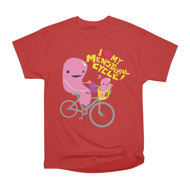 Love My Menstrual Cycle - Uterus on a Bicycle Women's Heavyweight Unisex T-Shirt by I Heart Guts
