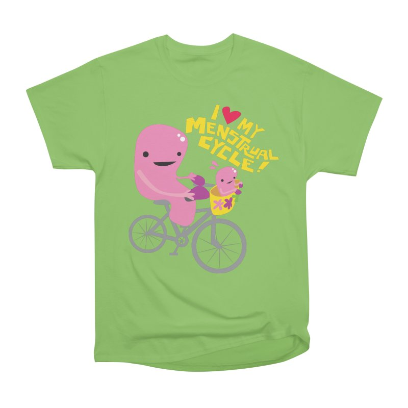Love My Menstrual Cycle - Uterus on a Bicycle Men's Heavyweight T-Shirt by I Heart Guts