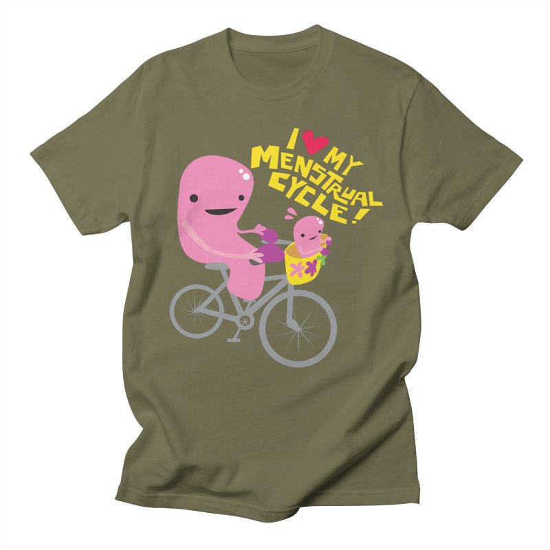 Love My Menstrual Cycle - Uterus on a Bicycle Women's Regular Unisex T-Shirt by I Heart Guts
