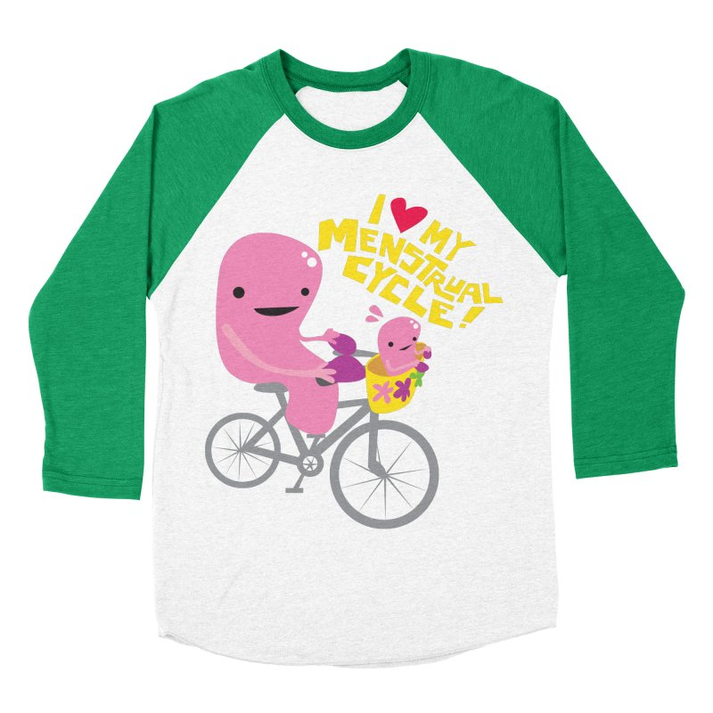 Love My Menstrual Cycle - Uterus on a Bicycle Men's Baseball Triblend Longsleeve T-Shirt by I Heart Guts