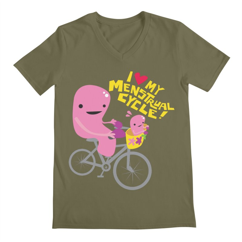 Love My Menstrual Cycle - Uterus on a Bicycle Men's Regular V-Neck by I Heart Guts