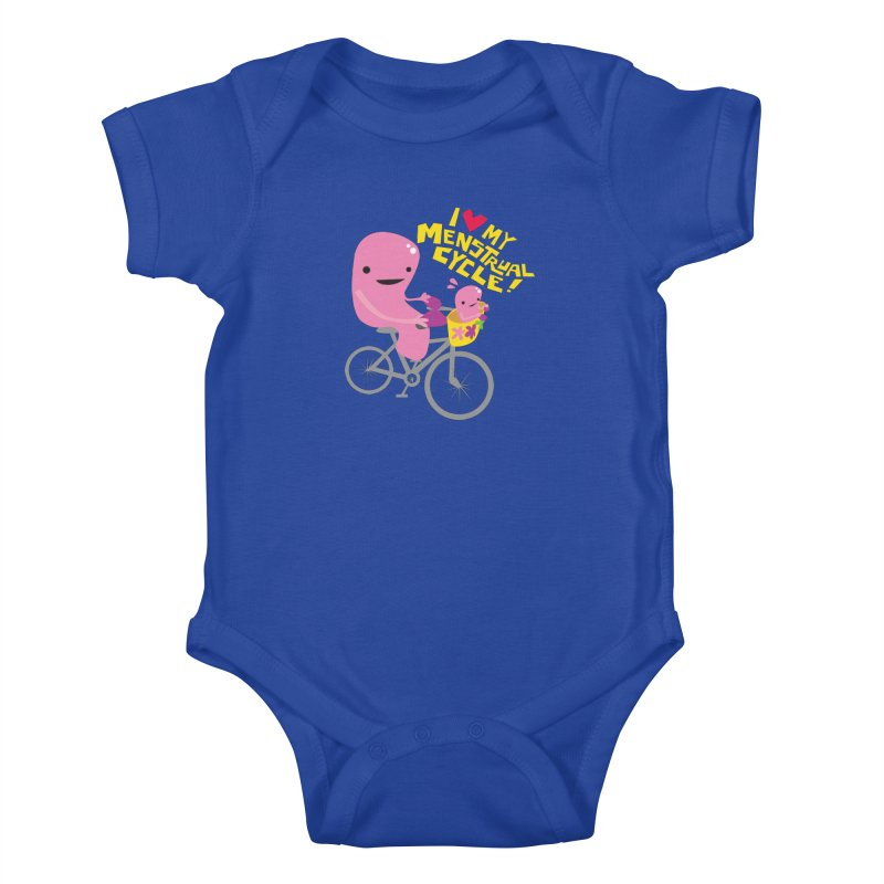 Love My Menstrual Cycle - Uterus on a Bicycle Kids Baby Bodysuit by I Heart Guts