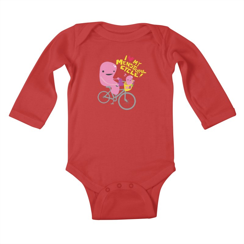 Love My Menstrual Cycle - Uterus on a Bicycle Kids Baby Longsleeve Bodysuit by I Heart Guts