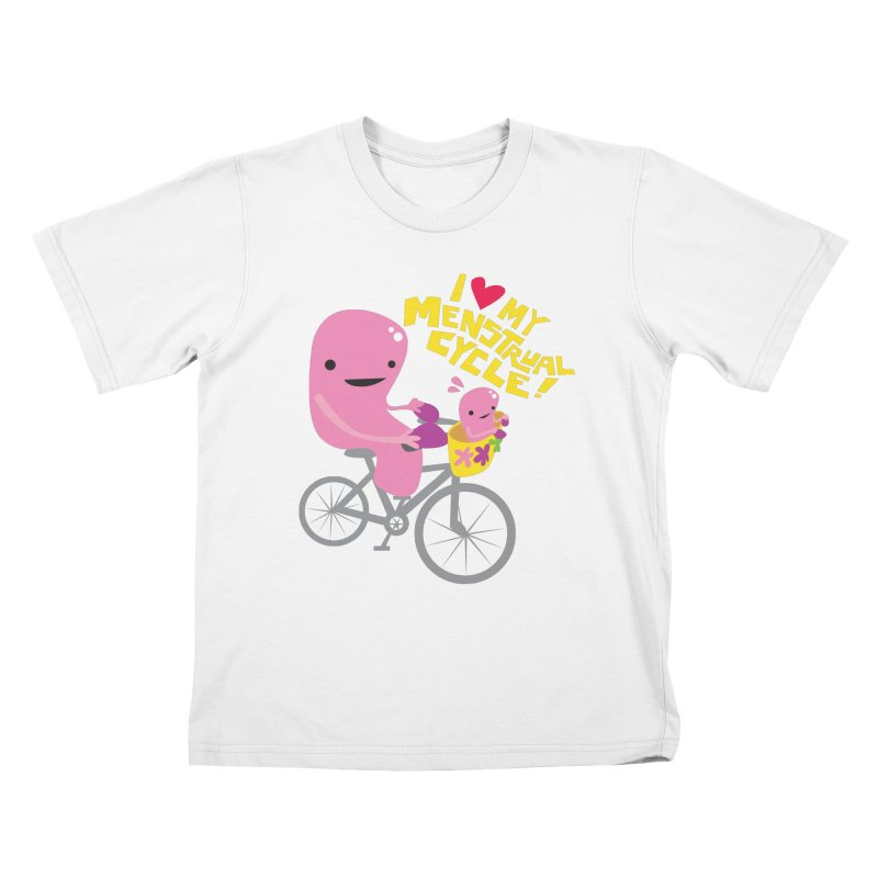 Love My Menstrual Cycle - Uterus on a Bicycle Kids T-Shirt by I Heart Guts