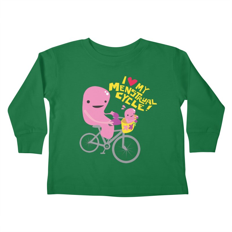 Love My Menstrual Cycle - Uterus on a Bicycle Kids Toddler Longsleeve T-Shirt by I Heart Guts