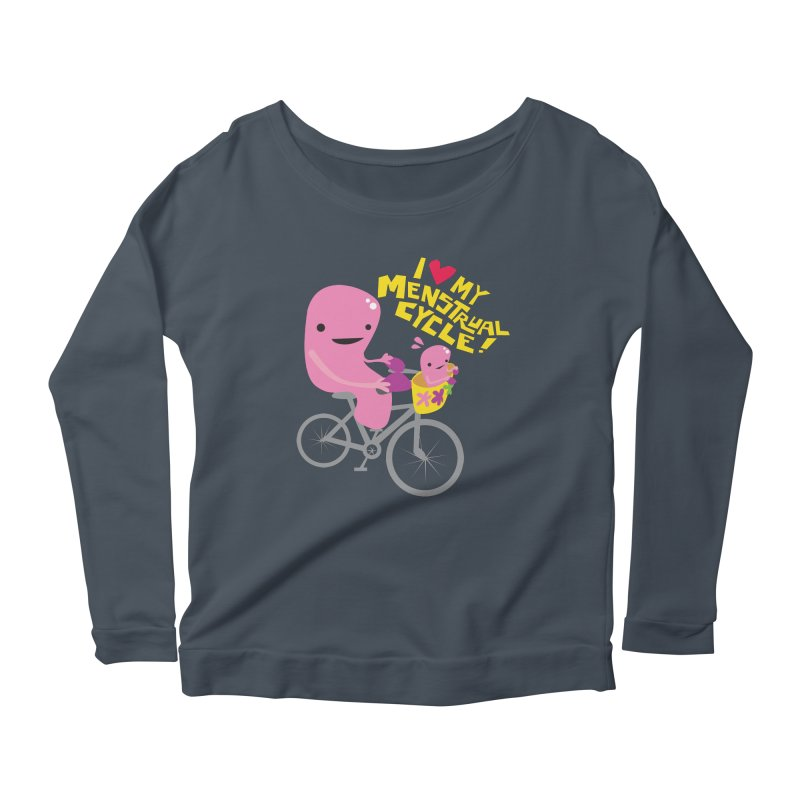 Love My Menstrual Cycle - Uterus on a Bicycle Women's Scoop Neck Longsleeve T-Shirt by I Heart Guts