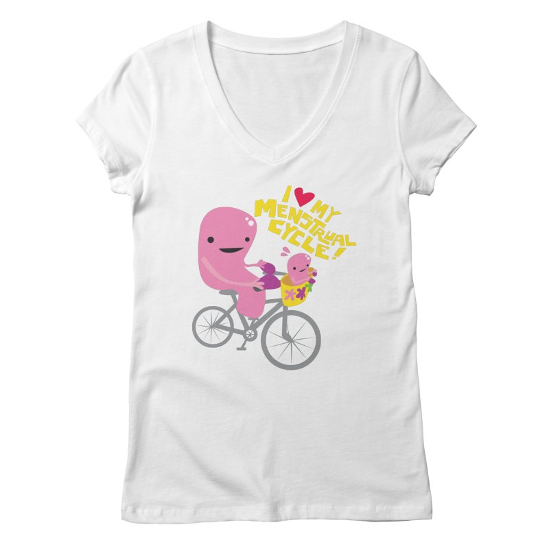 Love My Menstrual Cycle - Uterus on a Bicycle Women's Regular V-Neck by I Heart Guts