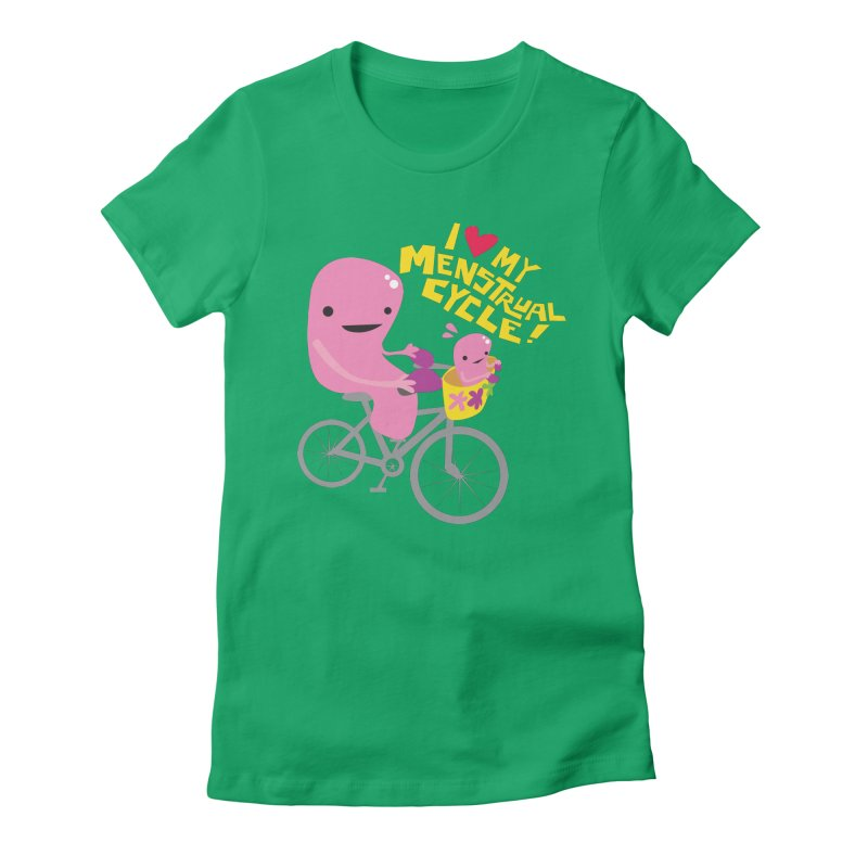 Love My Menstrual Cycle - Uterus on a Bicycle Women's Fitted T-Shirt by I Heart Guts