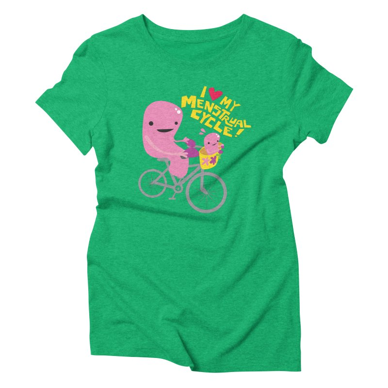Love My Menstrual Cycle - Uterus on a Bicycle Women's Triblend T-Shirt by I Heart Guts