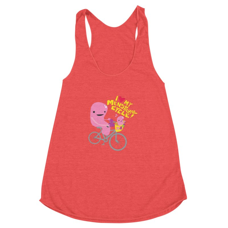 Love My Menstrual Cycle - Uterus on a Bicycle Women's Racerback Triblend Tank by I Heart Guts