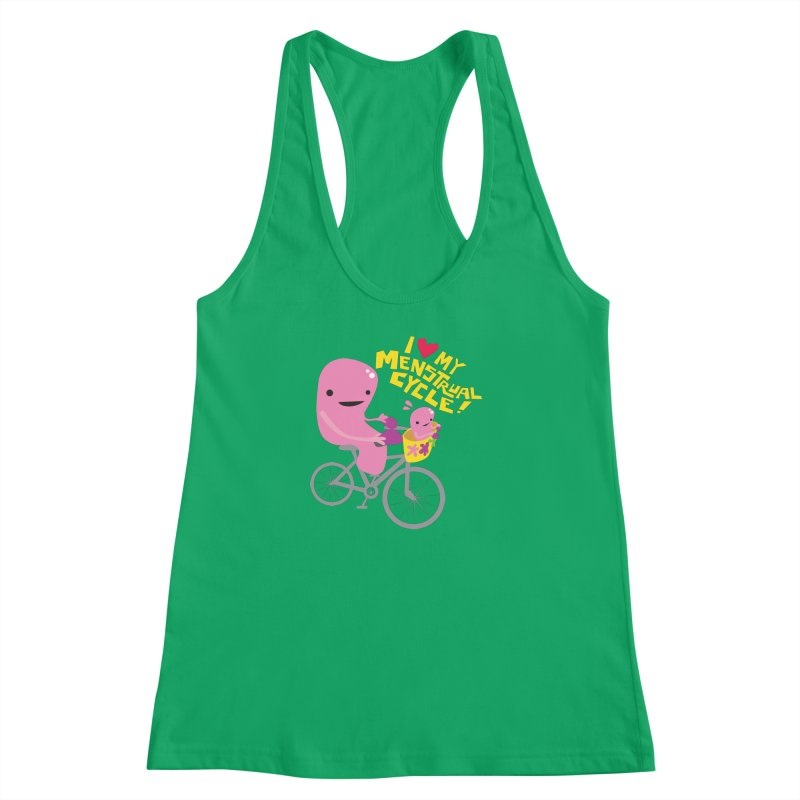 Love My Menstrual Cycle - Uterus on a Bicycle Women's Racerback Tank by I Heart Guts