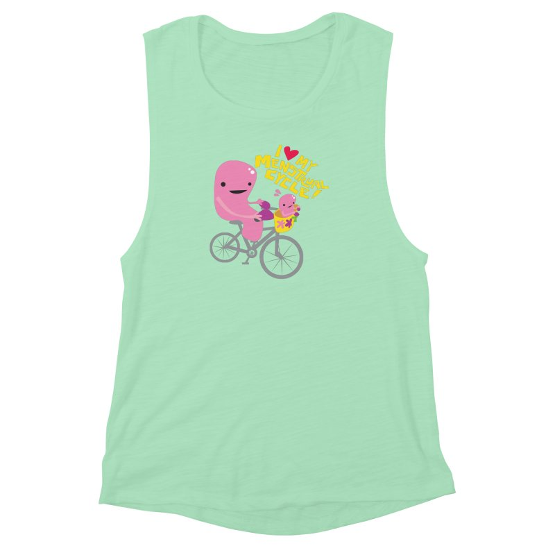 Love My Menstrual Cycle - Uterus on a Bicycle Women's Muscle Tank by I Heart Guts
