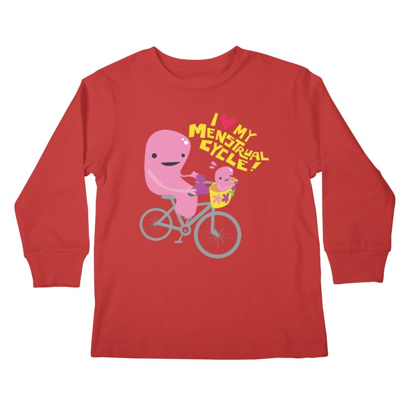 Love My Menstrual Cycle - Uterus on a Bicycle Kids Longsleeve T-Shirt by I Heart Guts