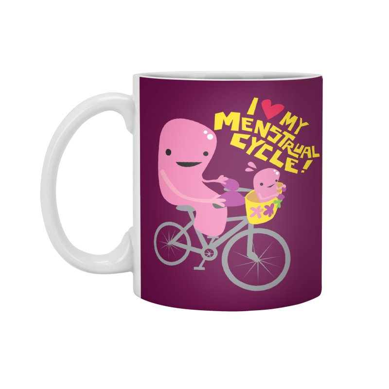 Love My Menstrual Cycle - Uterus on a Bicycle Accessories Standard Mug by I Heart Guts