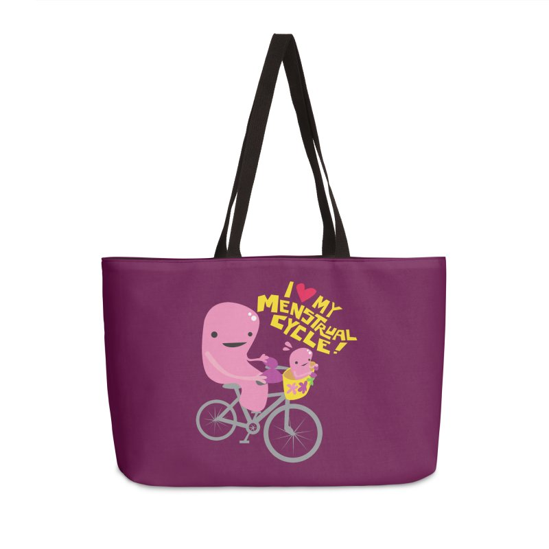 Love My Menstrual Cycle - Uterus on a Bicycle Accessories Weekender Bag Bag by I Heart Guts