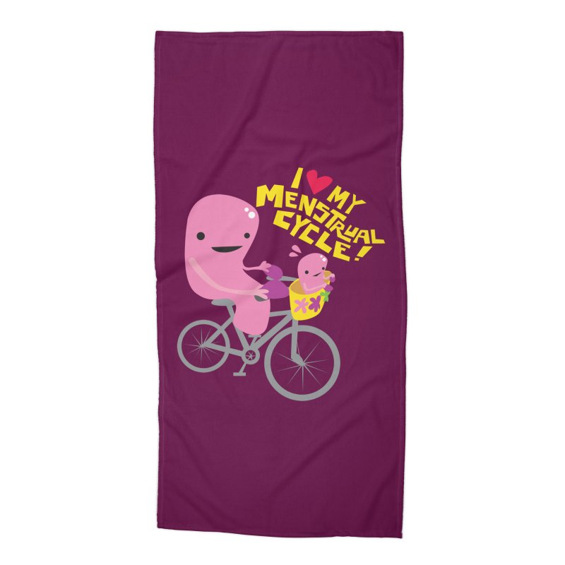 Love My Menstrual Cycle - Uterus on a Bicycle Accessories Beach Towel by I Heart Guts