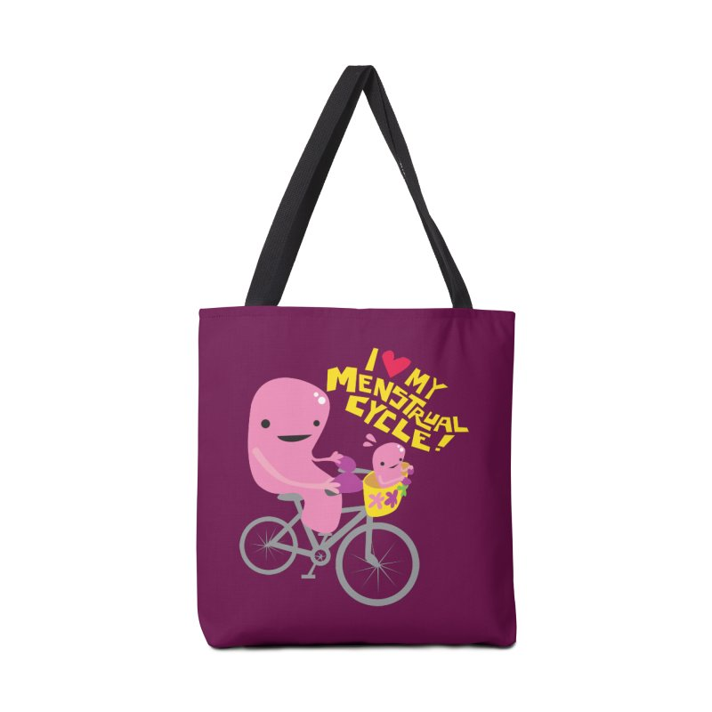 Love My Menstrual Cycle - Uterus on a Bicycle Accessories Tote Bag Bag by I Heart Guts