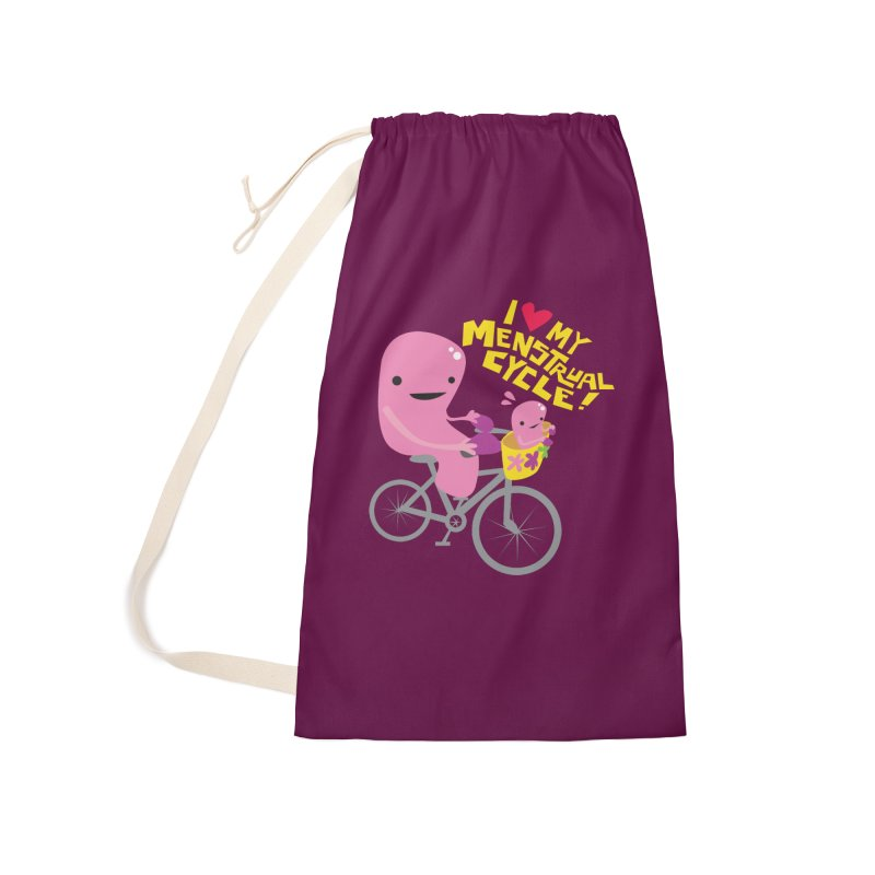 Love My Menstrual Cycle - Uterus on a Bicycle Accessories Laundry Bag Bag by I Heart Guts