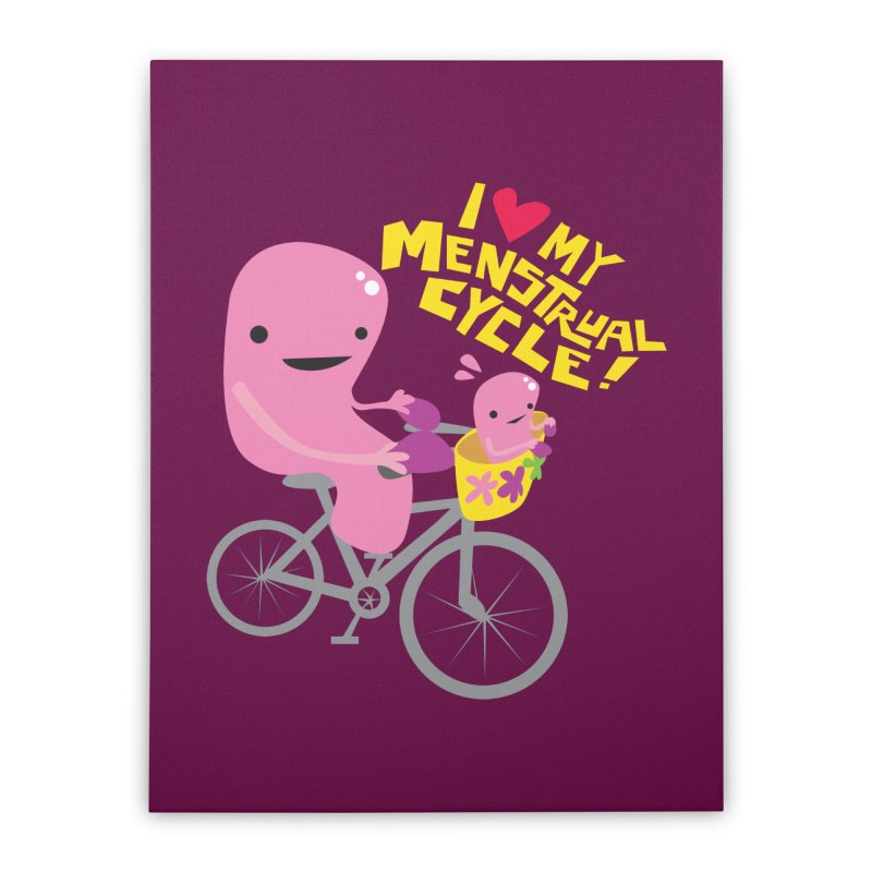 Love My Menstrual Cycle - Uterus on a Bicycle Home Stretched Canvas by I Heart Guts