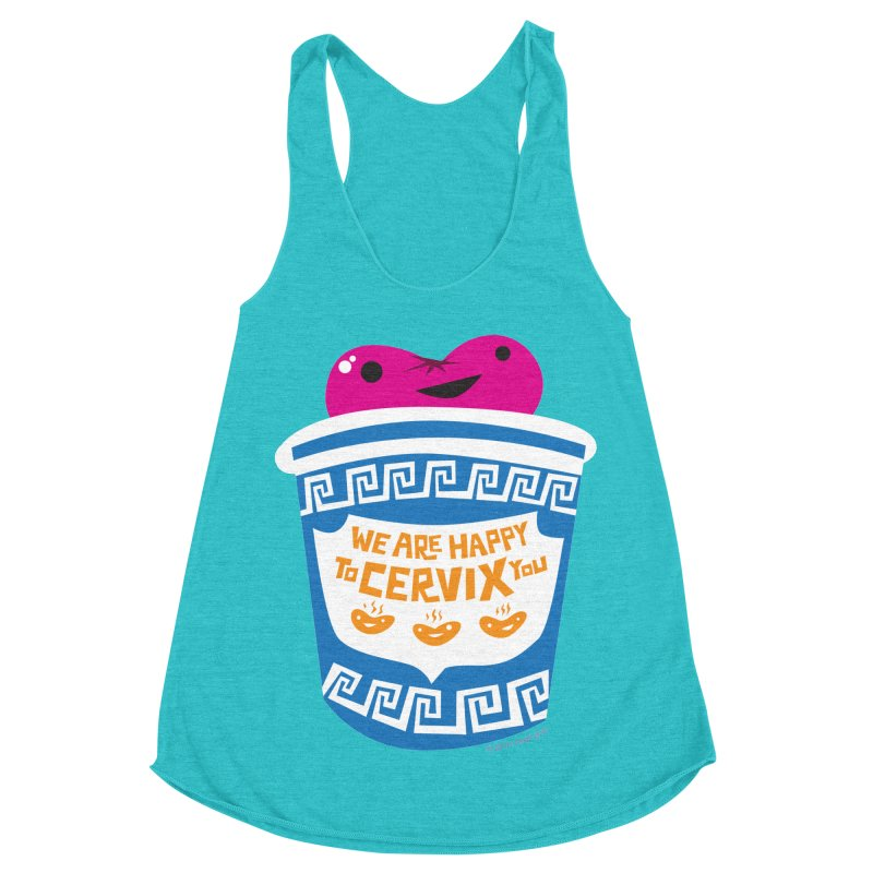 Cervix - We Are Happy to Cervix You Women's Racerback Triblend Tank by I Heart Guts