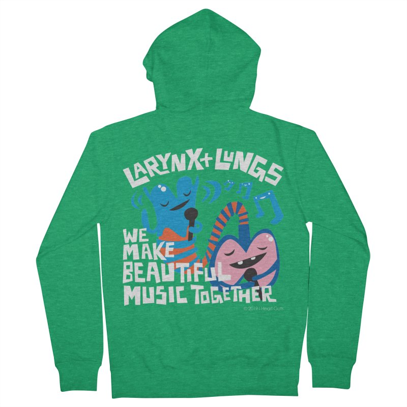 Larynx + Lungs: We Make Music Men's French Terry Zip-Up Hoody by I Heart Guts