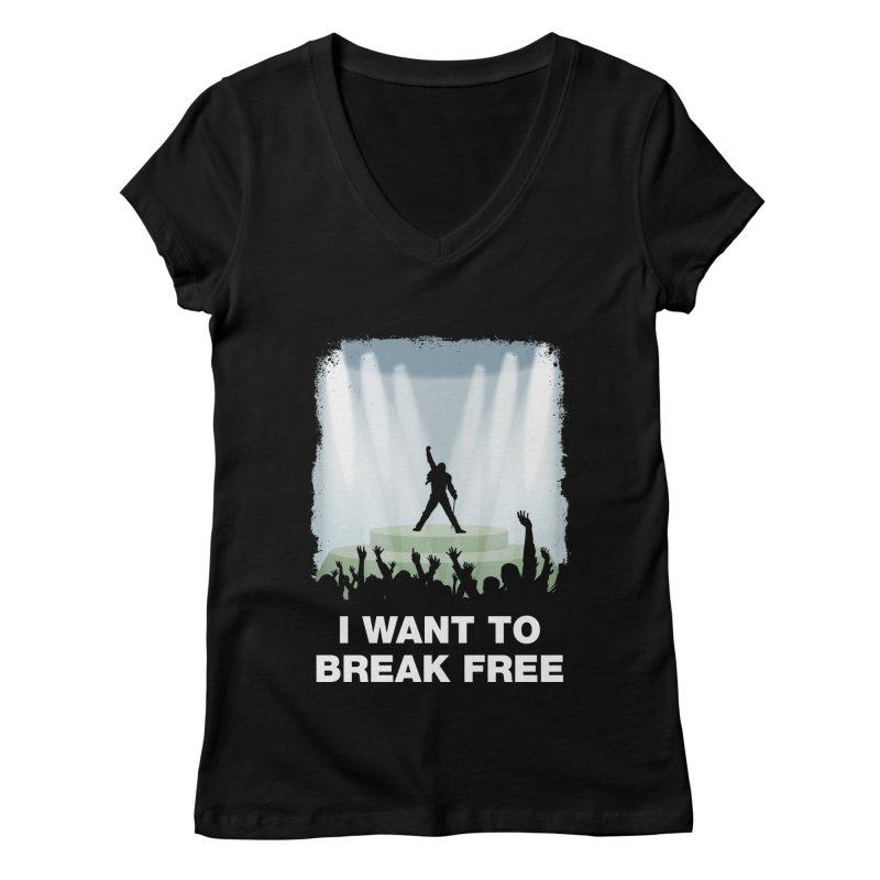 I want to break free Women's V-Neck by ikado's Artist Shop
