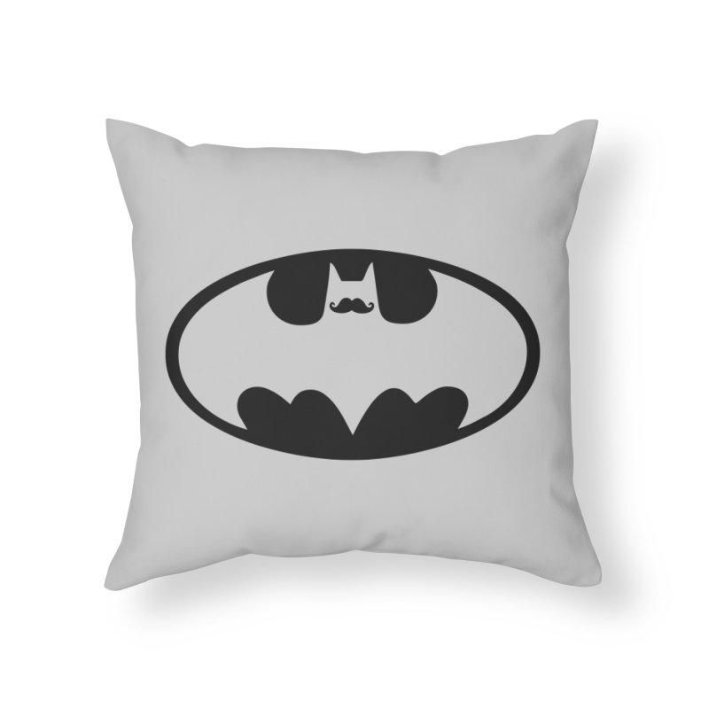 Bat-stache Home Throw Pillow by ikado's Artist Shop