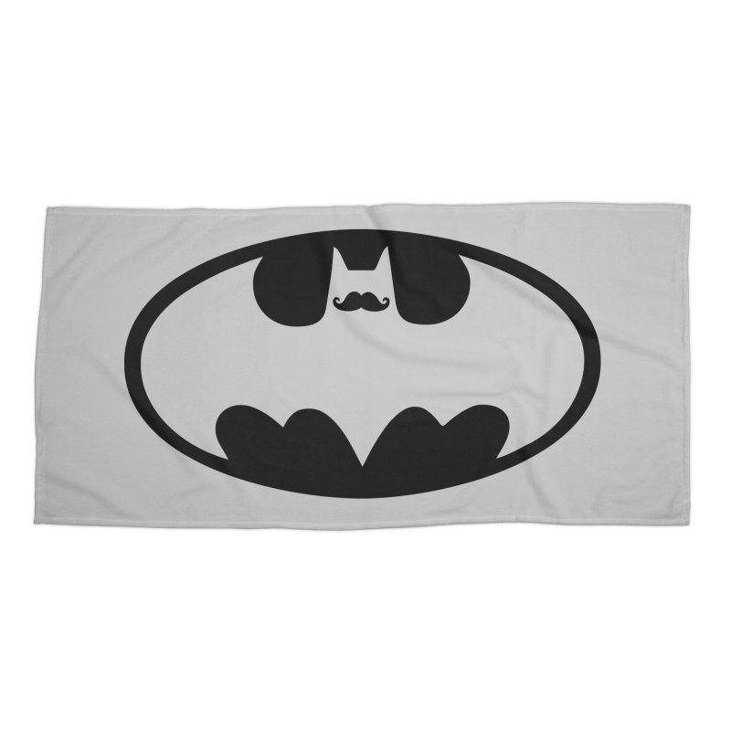 Bat-stache Accessories Beach Towel by ikado's Artist Shop