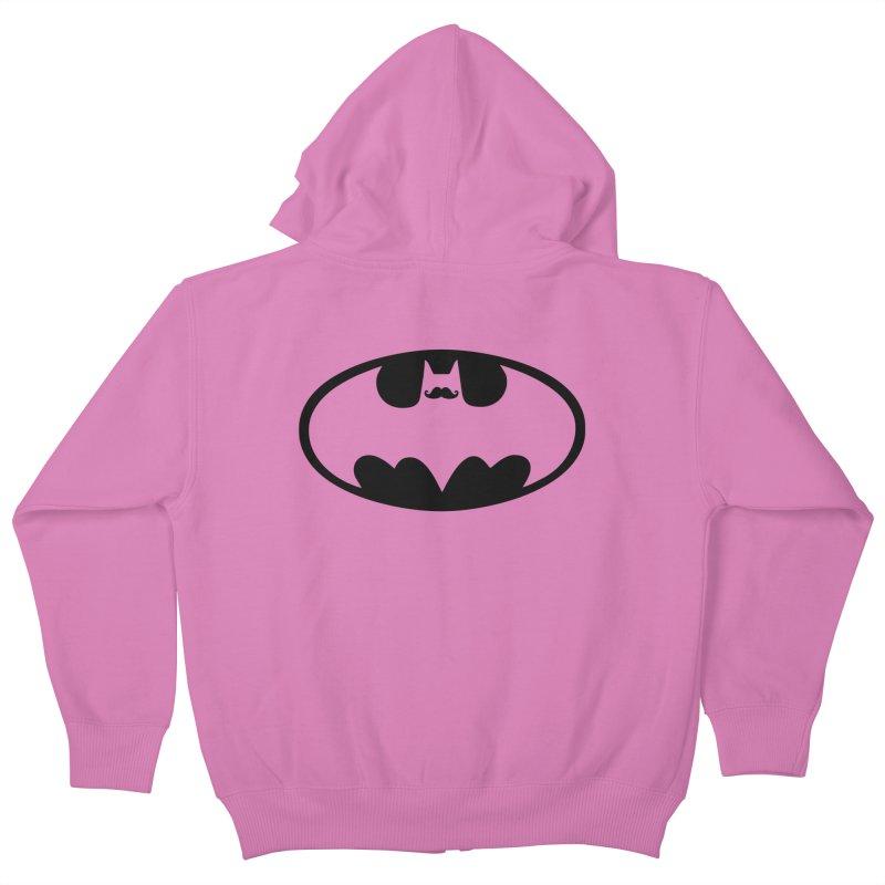 Bat-stache Kids Zip-Up Hoody by ikado's Artist Shop
