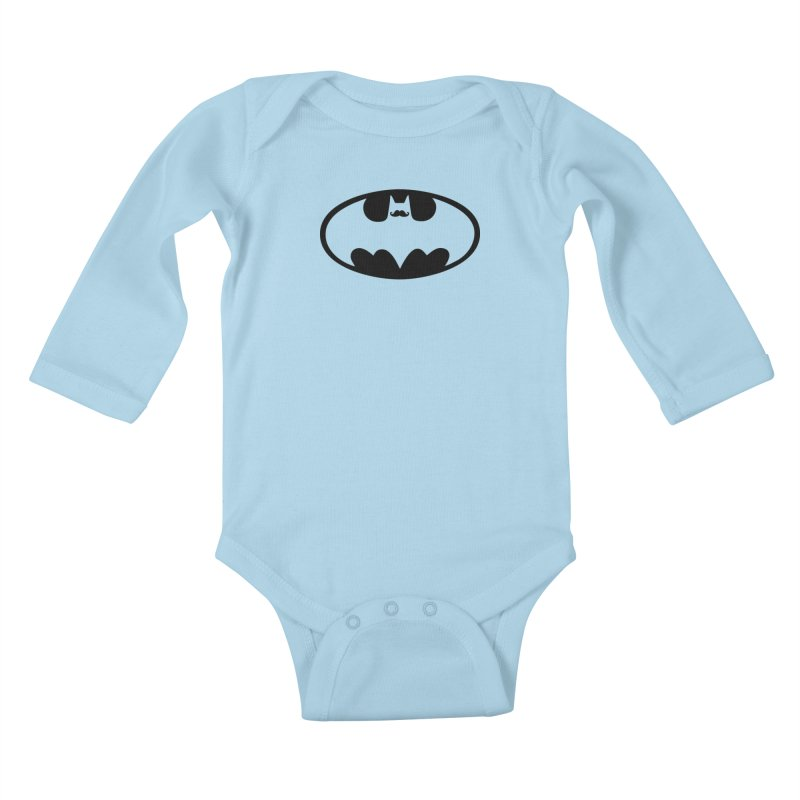 Bat-stache Kids Baby Longsleeve Bodysuit by ikado's Artist Shop