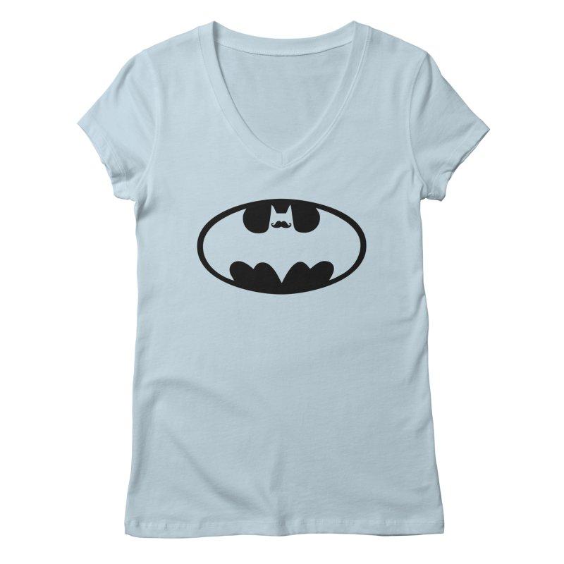 Bat-stache Women's V-Neck by ikado's Artist Shop