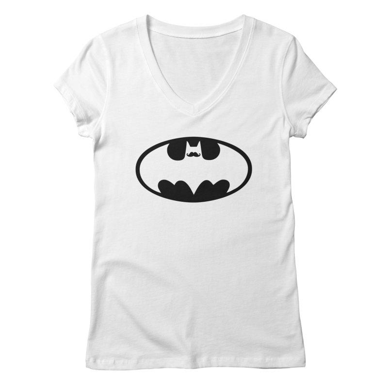Bat-stache Women's Regular V-Neck by ikado's Artist Shop