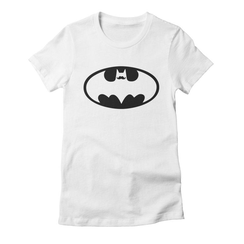 Bat-stache Women's Fitted T-Shirt by ikado's Artist Shop