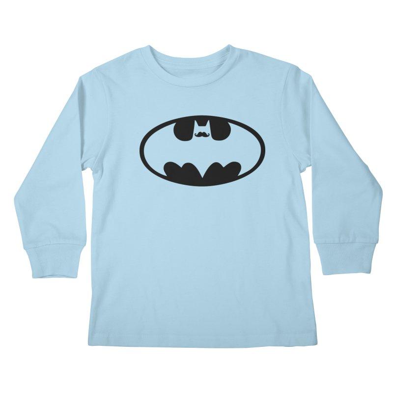 Bat-stache Kids Longsleeve T-Shirt by ikado's Artist Shop