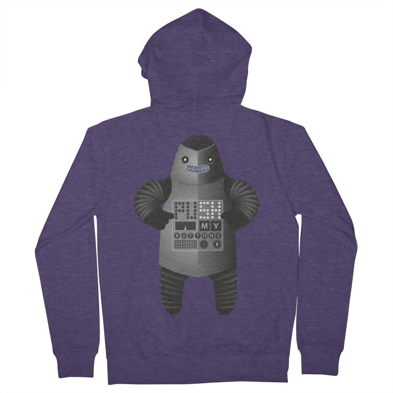 Push My Buttons Men's Zip-Up Hoody by The Illustration Booth Shop