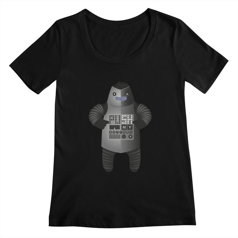 Push My Buttons Women's Scoopneck by The Illustration Booth Shop