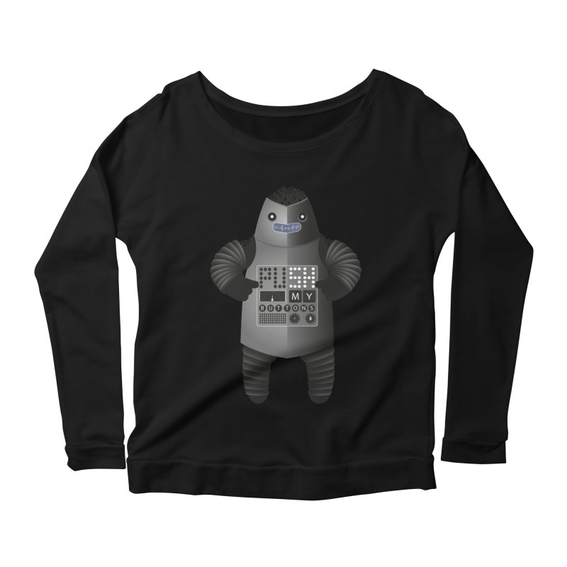 Push My Buttons Women's Longsleeve Scoopneck  by The Illustration Booth Shop
