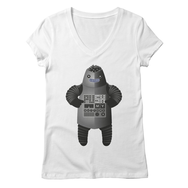 Push My Buttons Women's V-Neck by The Illustration Booth Shop