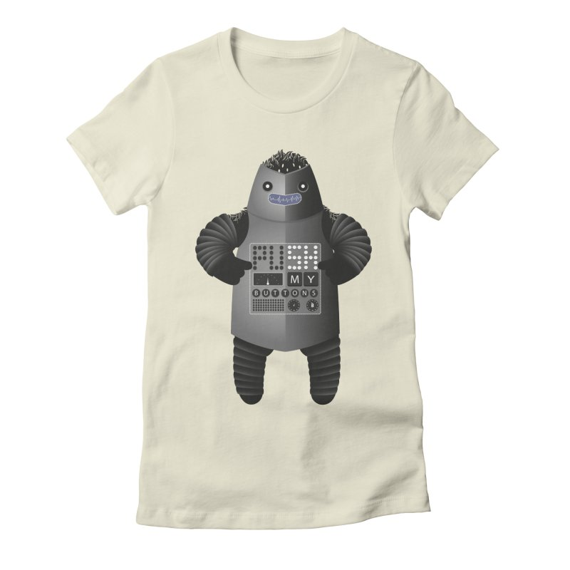 Push My Buttons Women's Fitted T-Shirt by The Illustration Booth Shop