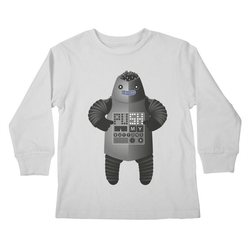 Push My Buttons Kids Longsleeve T-Shirt by The Illustration Booth Shop